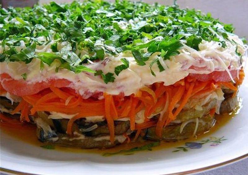 рецепты салатов с баклажанами и шампиньонами