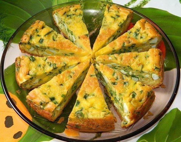 Яичный пирог с зелёным лучком. Ням-ням