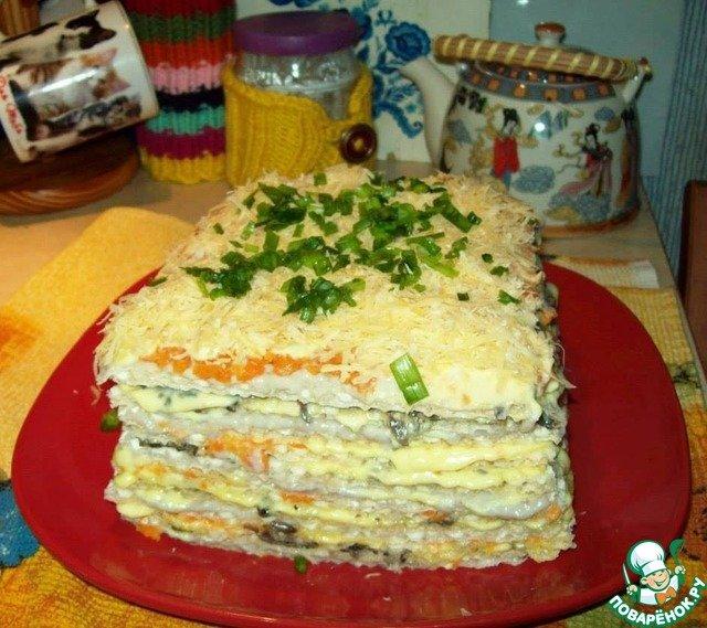 Селедочный тортик из вафельных коржей. Гости довольны!