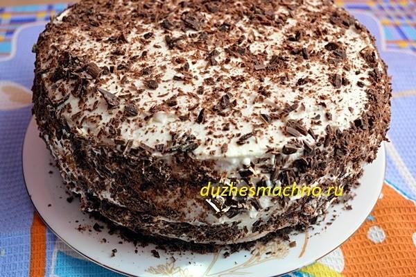 Торт на кипятке с творожным кремом