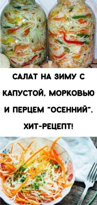 """Салат на зиму с капустой, морковью и перцем """"Осенний"""". Хит-рецепт!"""