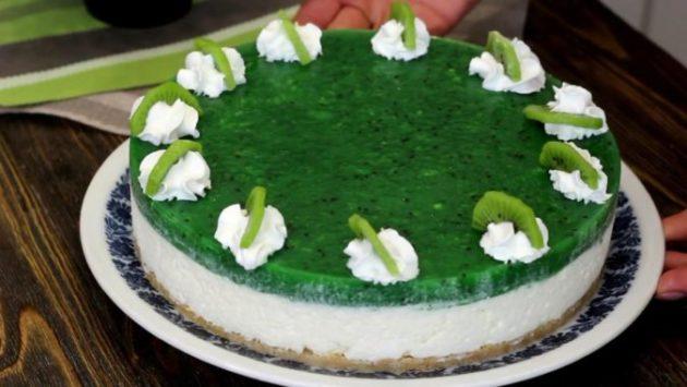 Освежающий десерт без выпечки и особых усилий - нежнейший КИВИ ЧИЗКЕЙК!