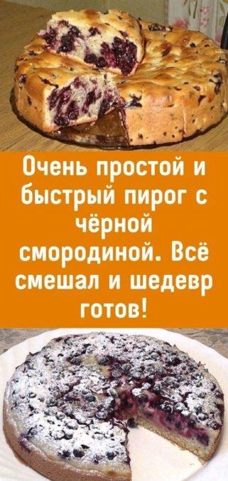 Очень простой и быстрый пирог с чёрной смородиной. Всё смешал и шедевр готов!