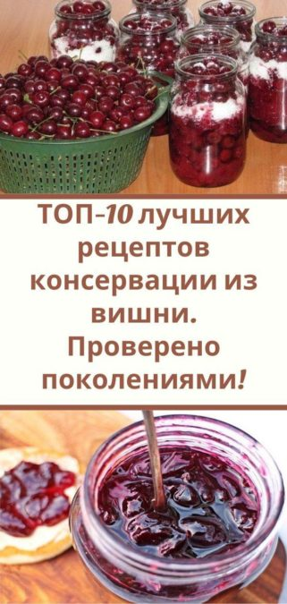 ТОП-10 лучших рецептов консервации из вишни. Проверено поколениями!