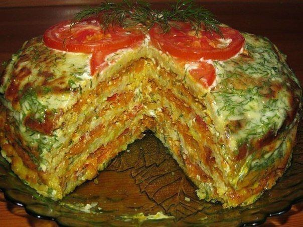 Вкуснейший кабачковый тортик с овощами и сыром. Всем советую!
