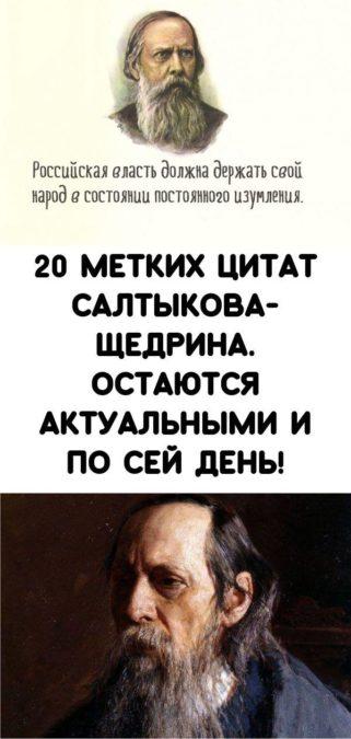 20 метких цитат Салтыкова-Щедрина. Остаются актуальными и по сей день!
