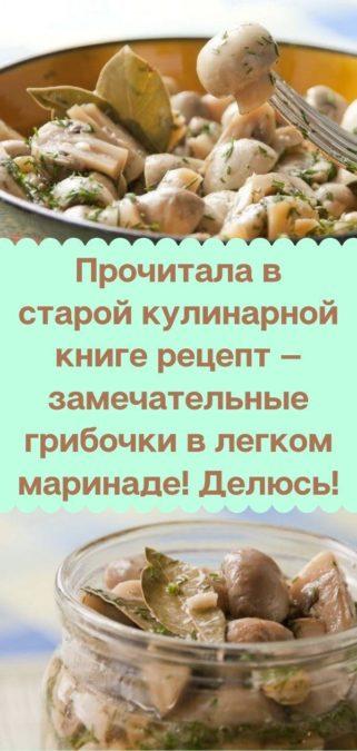 Прочитала в старой кулинарной книге рецепт — замечательные грибочки в легком маринаде! Делюсь!