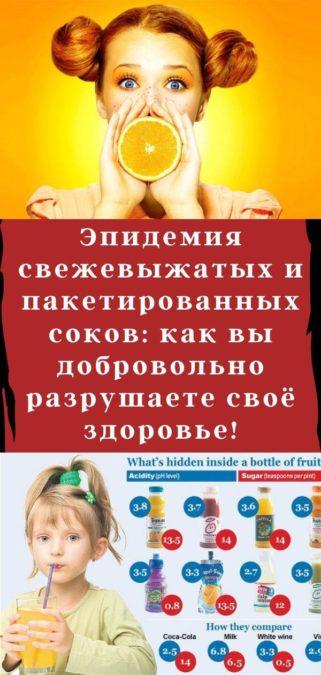 Эпидемия свежевыжатых и пакетированных соков: как вы добровольно разрушаете своё здоровье!
