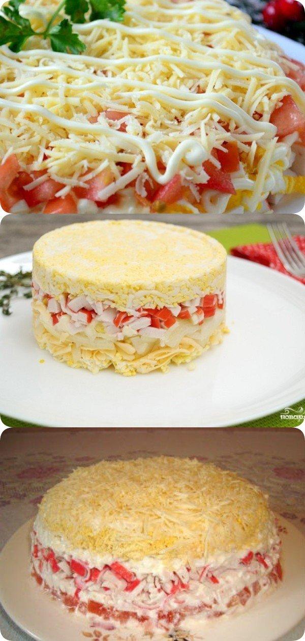 Cлоеный салат с крабовыми палочками. Что может быть проще и вкуснее?