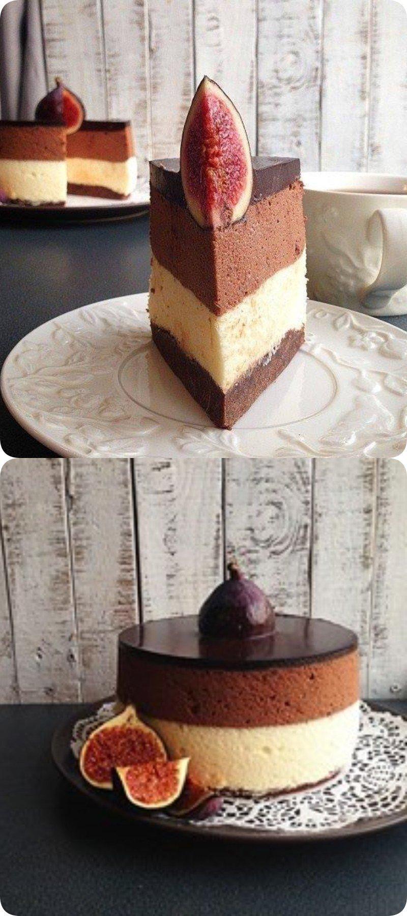 Сливочно-шоколадный торт с нежнейшим сливочным муссом. НЯМ НЯМ!