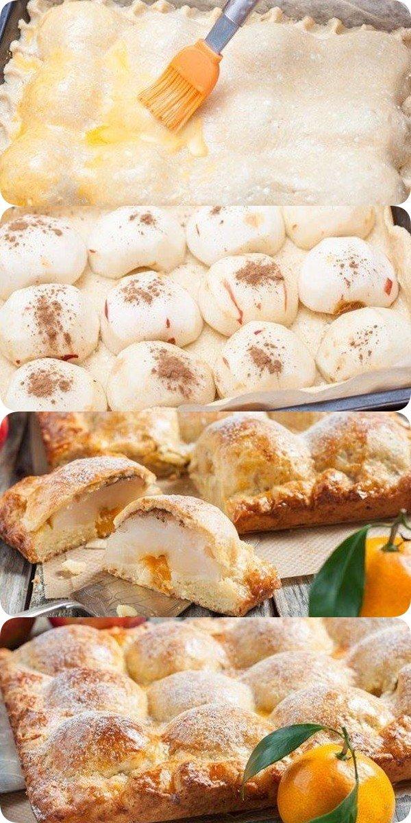 Пирог из творожного теста с яблоками - божественно вкусный и красивый!