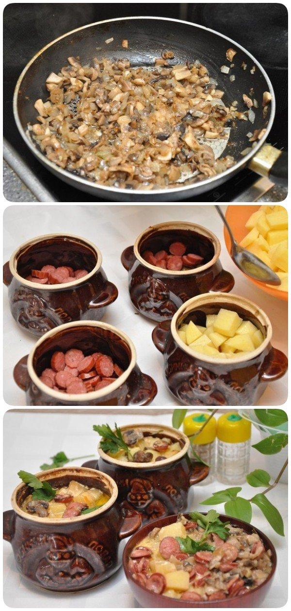 Охотничьи колбаски с картофелем в горшочках