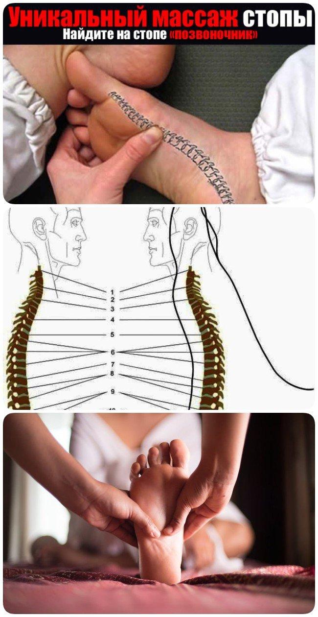 Массаж ребра стопы устранит боли в спине