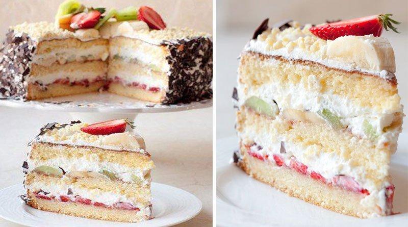 Воздушный бисквит и нежнейший крем. Это всё тортик «Нежность».