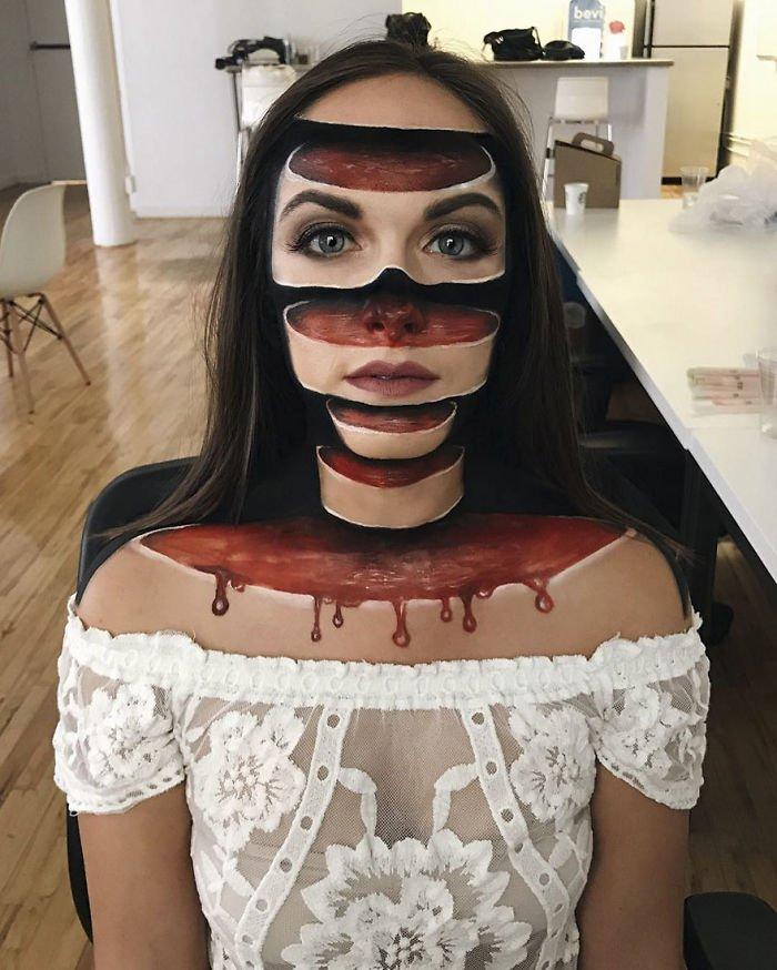 Девушка с помощью макияжа создает на своем лице головокружительные трехмерные оптические иллюзии!