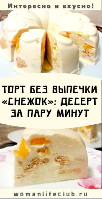 Торт без выпечки «Снежок»: десерт за пару минут