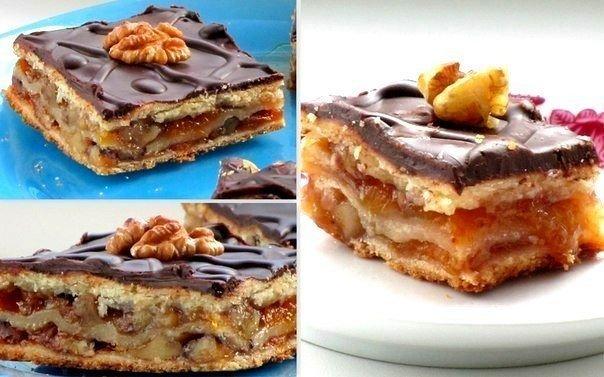 Пирожное Жербо с изумительно вкусной орехово-абрикосовой начинкой. Рецепт из венгерской кафейни